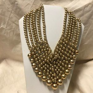 Gold Bead and Crystal Necklace